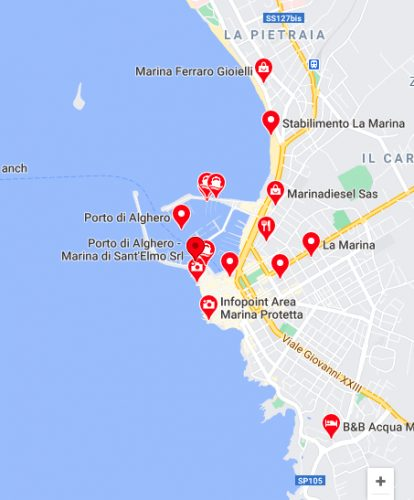 a map of yacht broker Alghero Sardinia